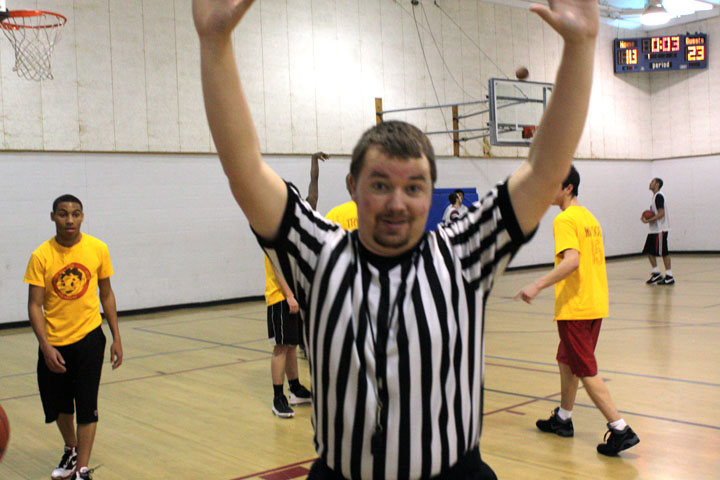 Rec league referee lays down the law during the competitive Average Joe's vs Tate game