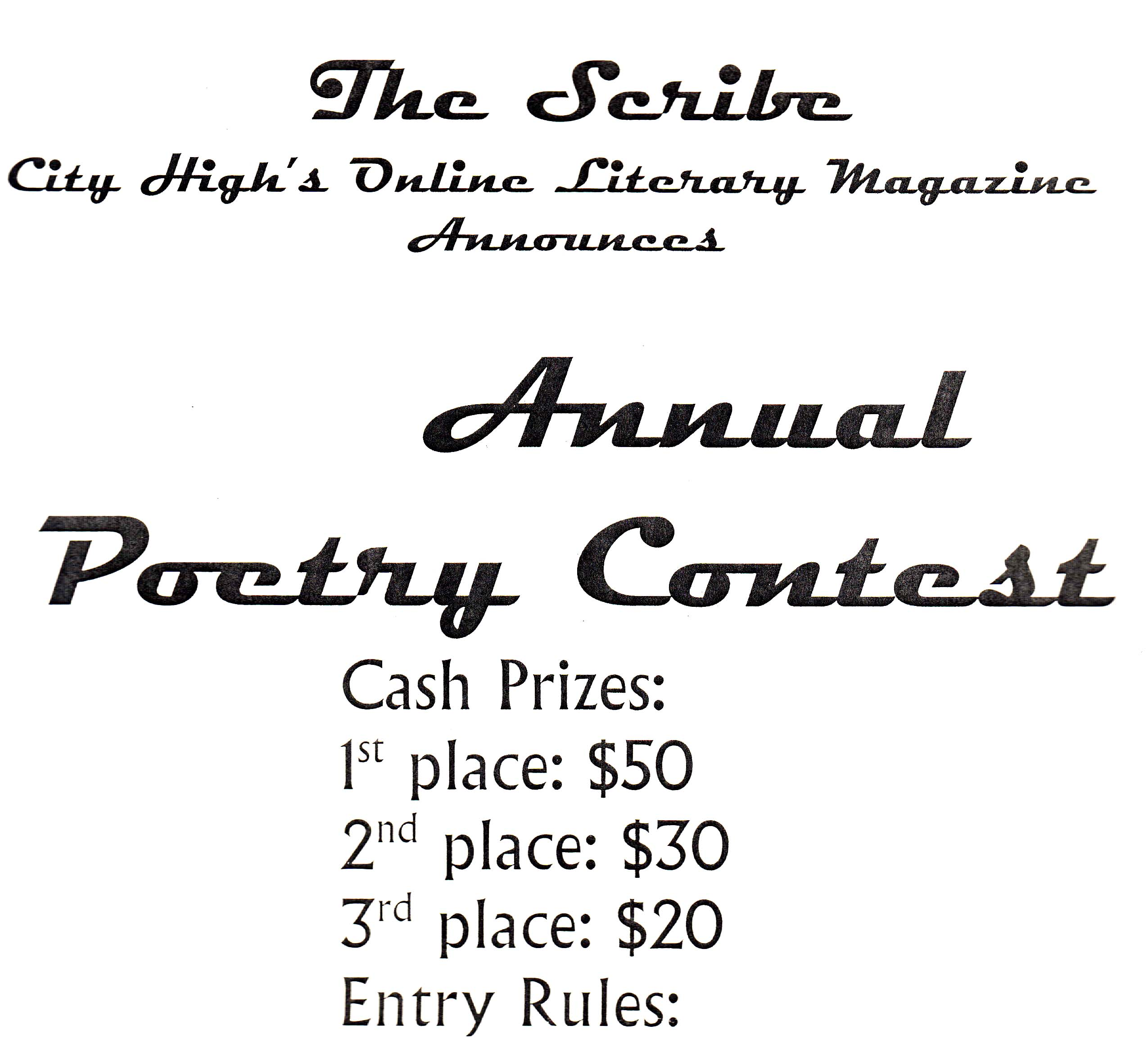 Submit poetry all throughout month to win cash prizes.