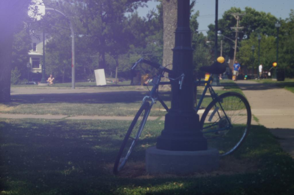 A bicycle sits locked to a lamp post in College Green Park in downtown Iowa City. Photo by Eli Shepherd.