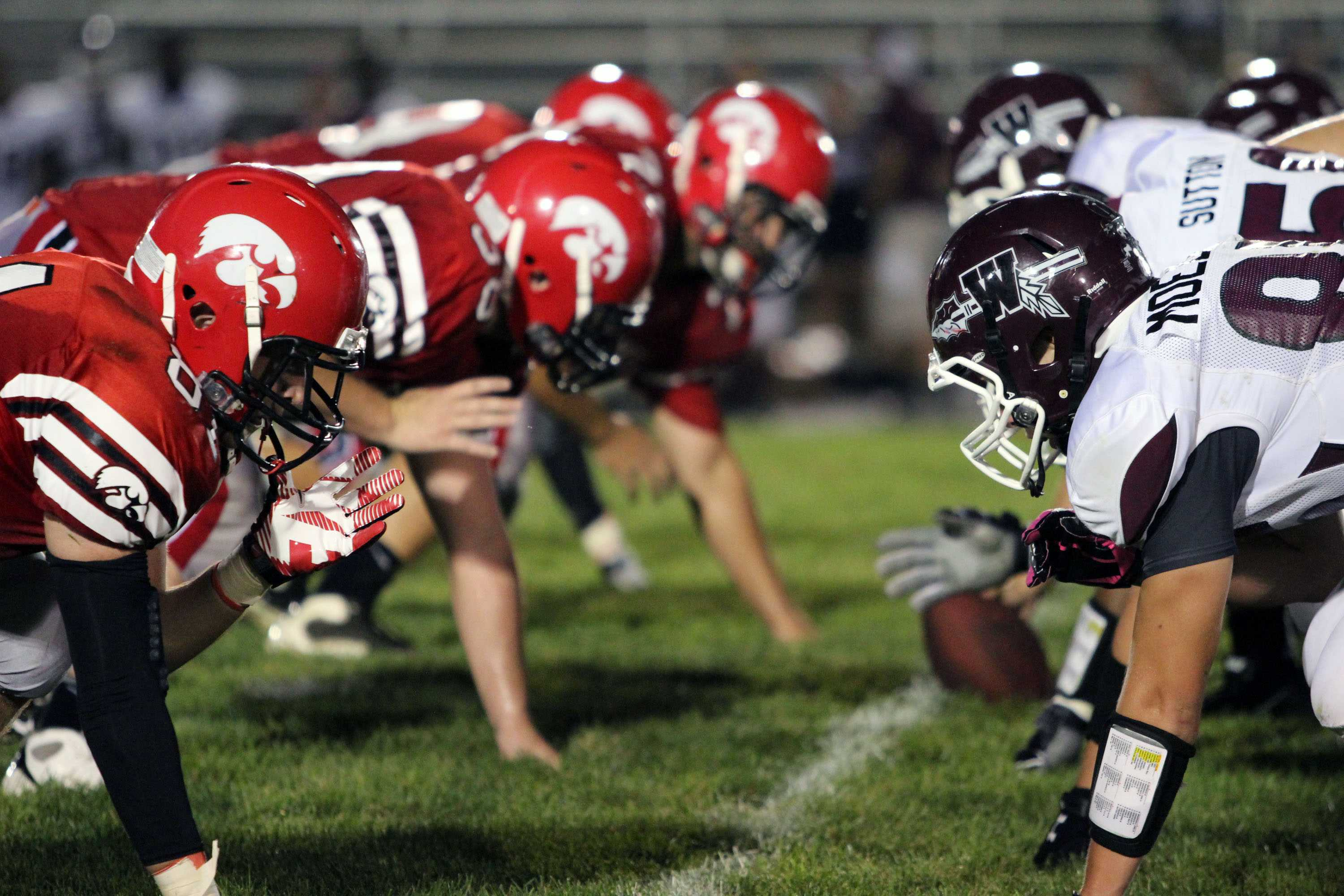 The Little Hawks line versus Waterloo West. Photo by Kierra Zapf